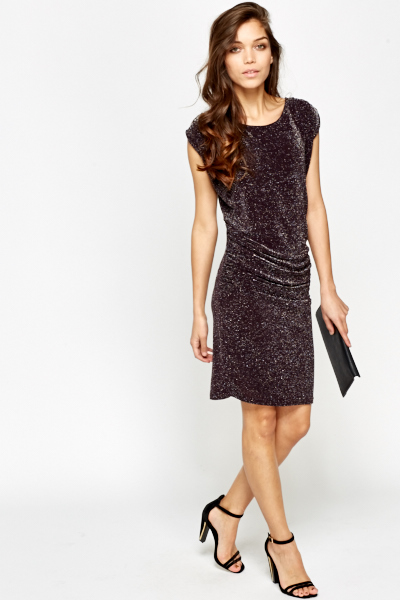 Ruched Metallic Bodycon Dress
