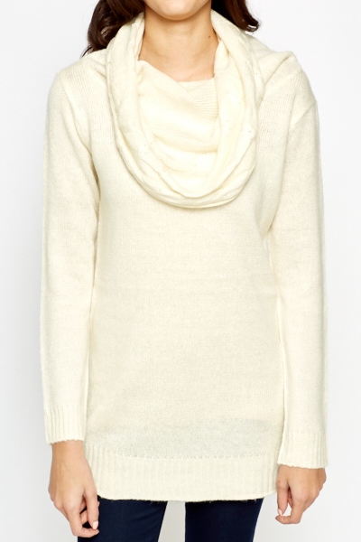 Cream Long Roll Neck Jumper