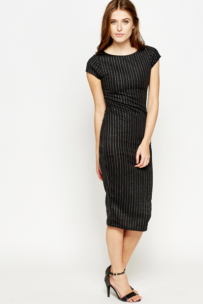 Midi Metallic Stripe Bodycon Dress