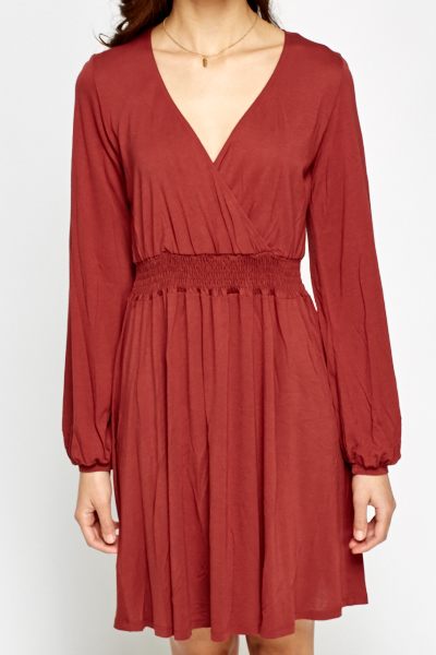 Rust Wrap Skater Dress