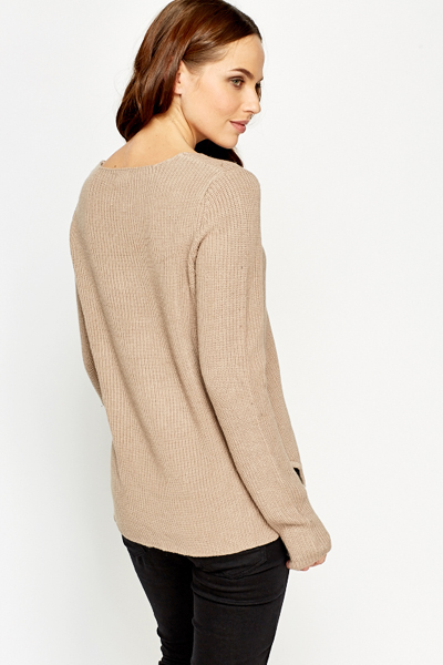 Slit Hem Knit Ribbed Jumper