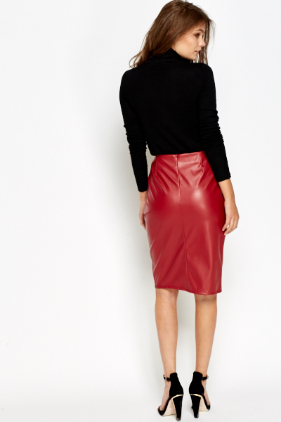 Split Front Red Faux Leather Skirt - Just £5