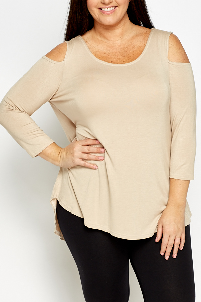 Beige Cut Out Shoulder Tunic