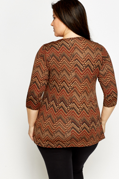 Brown Multi Zig Zag Tunic