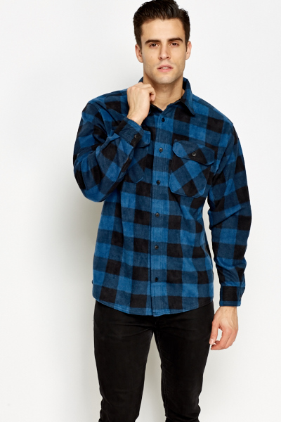 Fleece Grid Check Shirt
