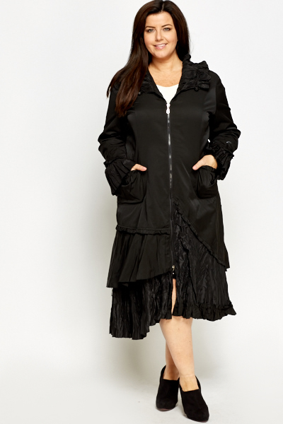Long Ruffle Cotton Blend Coat