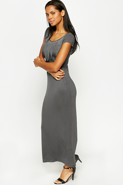 Charcoal Fringed Neck Bodycon Dress
