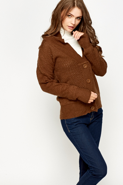 Image of Loose Knit Ribbed Cardigan