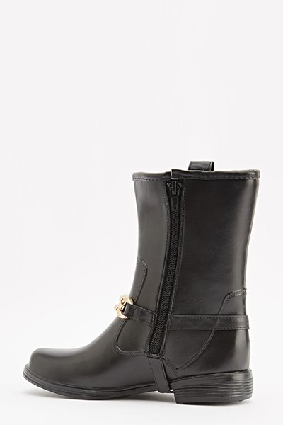 Black Chain Embellished Boots