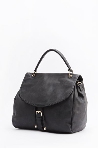 Black Faux Leather Slouch Bag