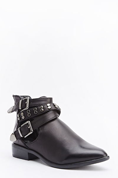 Pointed Cut Out Side Boots
