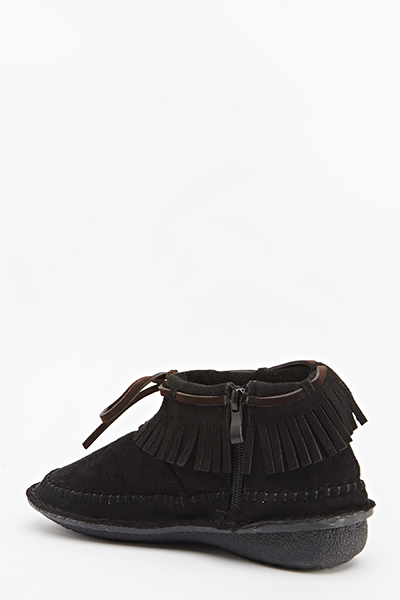 Suedette Fringe Zip Side Shoes