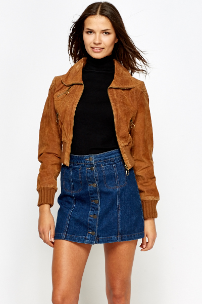 Brown Suedette Cropped Jacket - Just £5