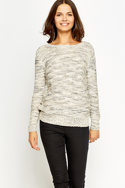 Contrast Bow Back Knit Top
