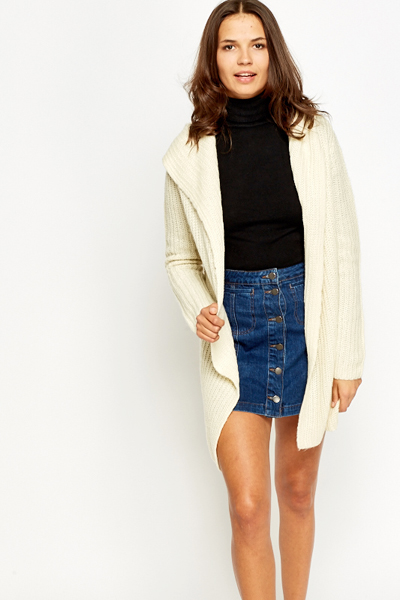 Cream Hooded Chunky Knit Cardigan