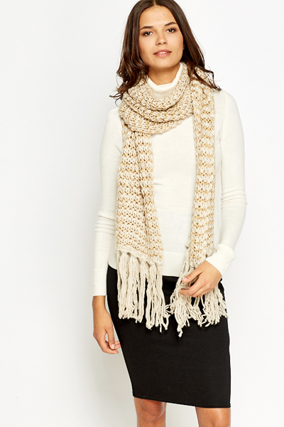 Loose Knit Metallic Scarf