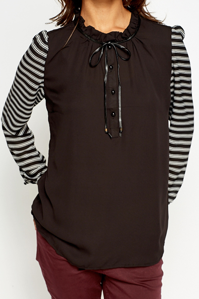 Ruched Neck Striped Sleeve Blouse