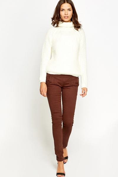 Skinny Fit Button Detail Trousers