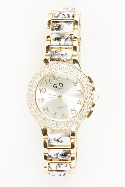Encrusted Face Floral Watch