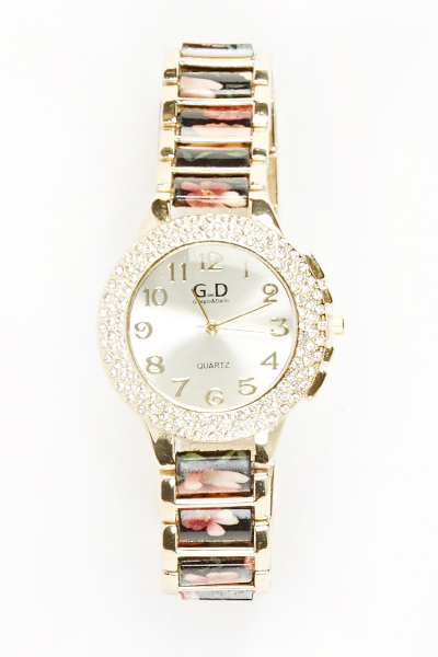 Encrusted Face Rose Watch