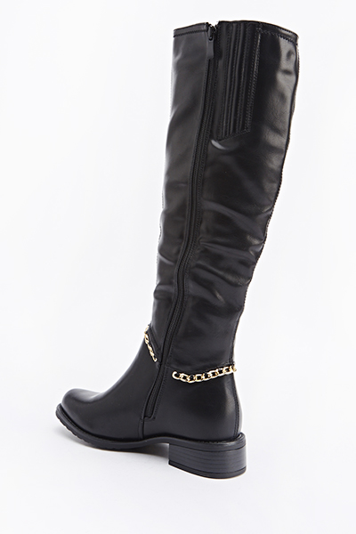 Faux Leather Chain Detail Knee High Boots