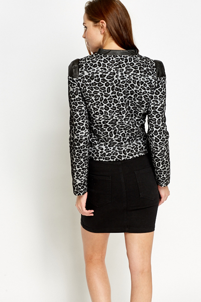 Faux Leather Leopard Print Jacket