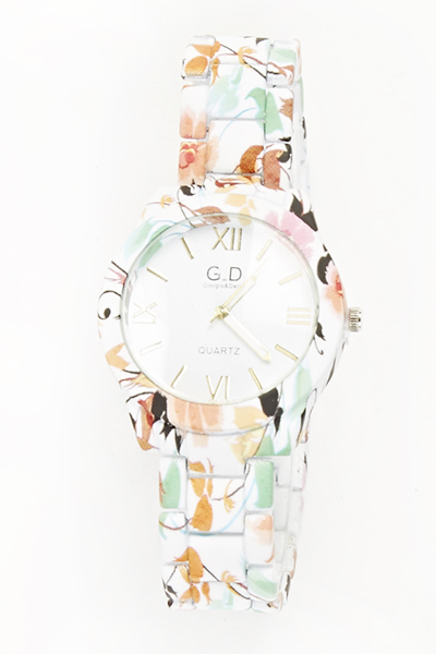 Floral Brush Print Watch