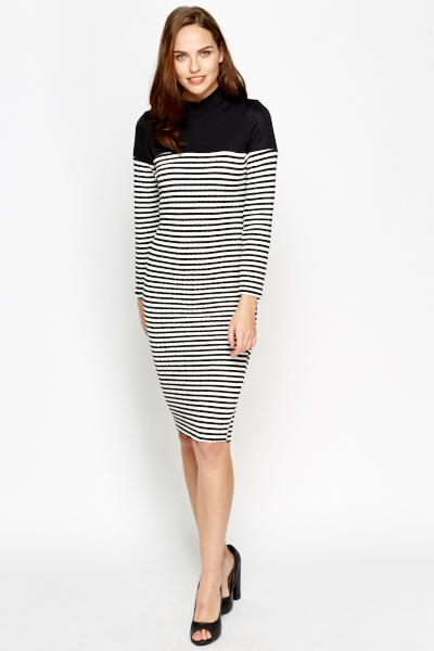 High Neck Striped Midi Dress