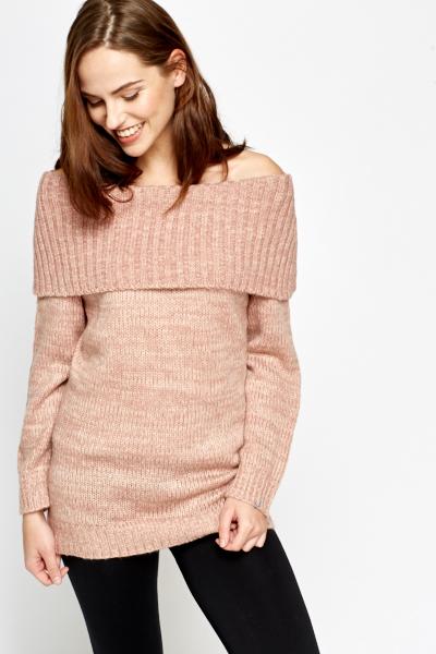 Off Shoulder Knit Jumper - Just ?5