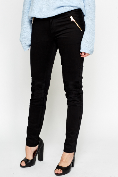 Ruched Knee Black Skinny Trousers