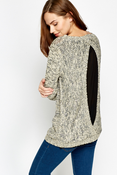 Sheer Open Back Knit Top