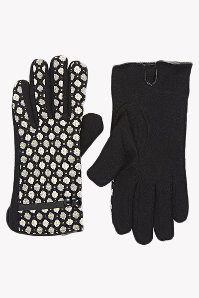 Black Knitted Pattern Gloves