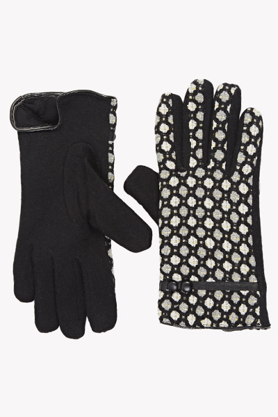Image of Black Knitted Pattern Gloves