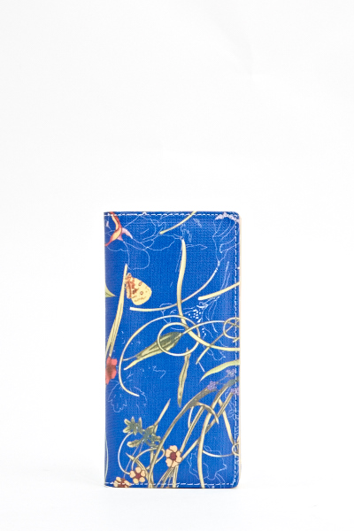 Blue Floral Brush Wallet