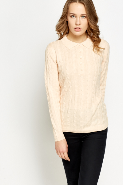 Collared Chunky Knit Jumper