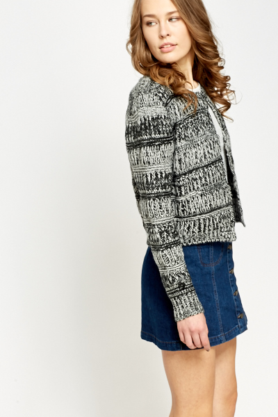 Contrast Chunky Knit Cardigan