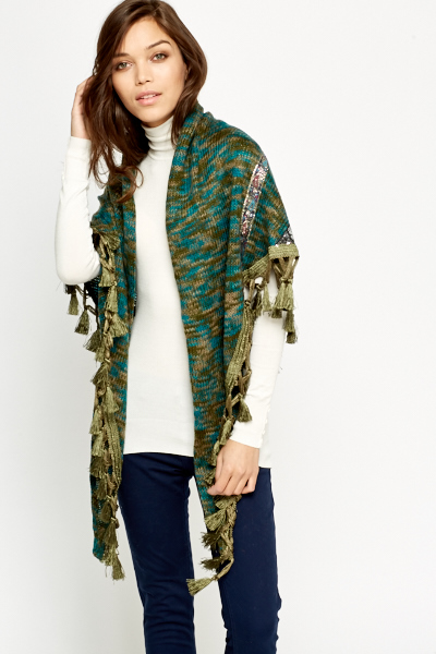 Embroidered Tassel Knit Scarf Wrap