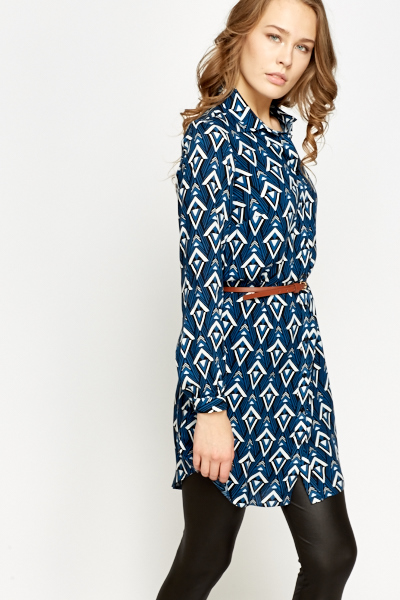 Geo Dark Blue Shirt Dress