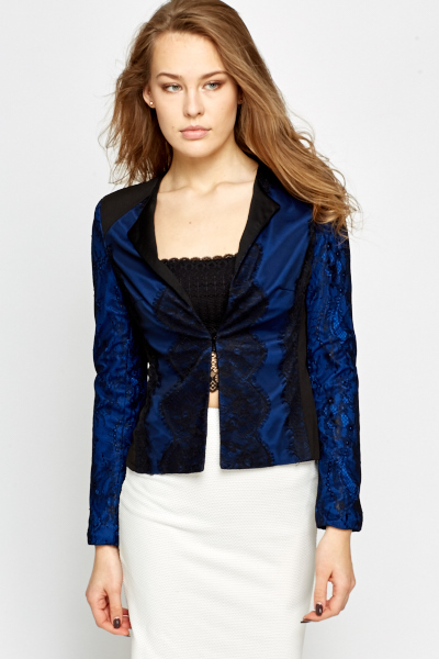 Lace Overlay Contrast Blazer