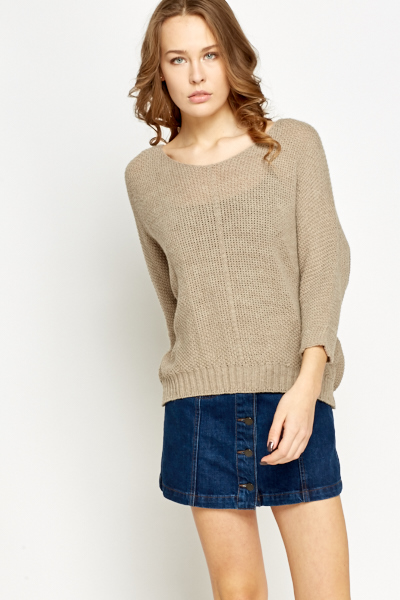 Loose Fit Ribbed Knit Jumper