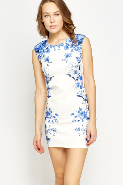 Mirrored Floral Printed Bodycon Dress
