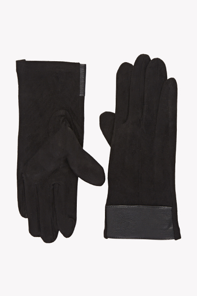 Suedette Faux Leather Gloves