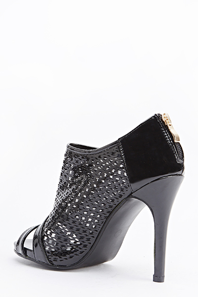 Holographic Cut Out Open Toe Boots