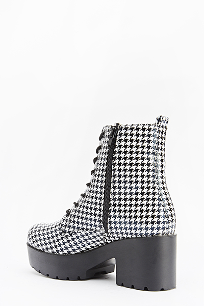 Houndstooth Chunky Boots