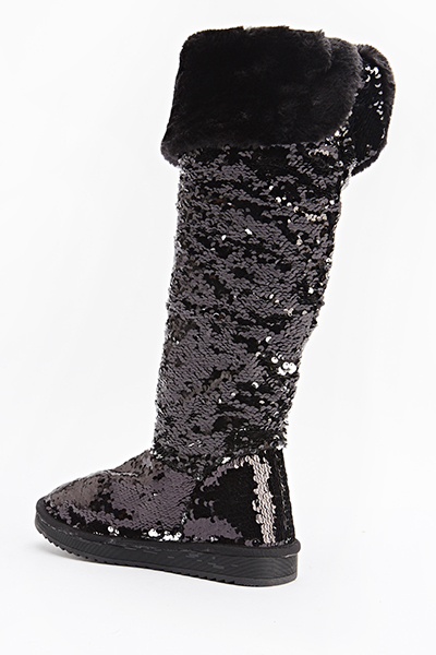 knee high sequin flat boots just 163 5