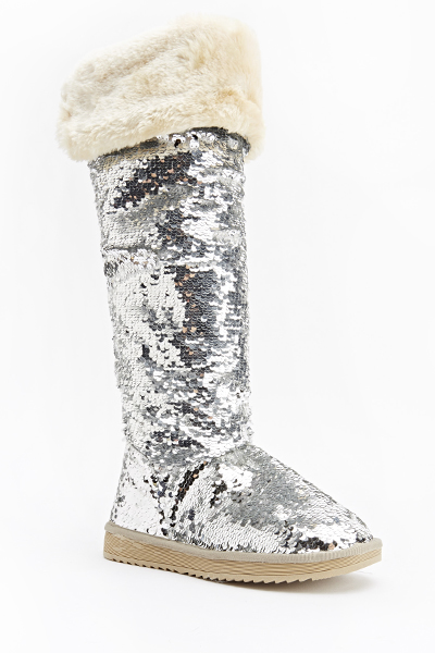 Knee High Sequin Flat Boots - Just $6