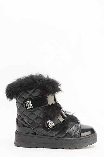 Quilted Faux Fur Ankle Boots