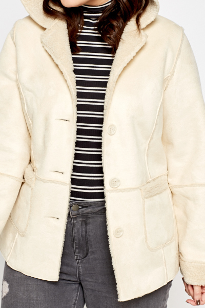 Beige Faux Fur Trim Coat