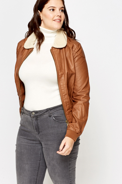 Brown Faux Fur Collar Jacket