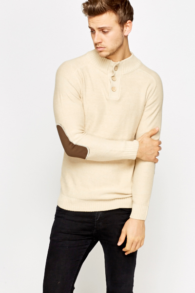 Contrast Elbow Knit Jumper
